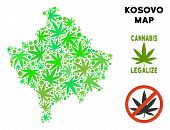 Royalty Free Cannabis Kosovo Map Composition Of Weed Leaves. Concept For Narcotic Addiction Campaign poster