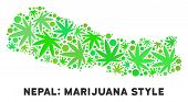 Royalty Free Cannabis Nepal Map Composition Of Weed Leaves. Template For Narcotic Addiction Campaign poster