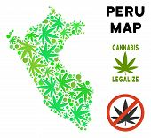 Royalty Free Cannabis Peru Map Collage Of Weed Leaves. Template For Narcotic Addiction Campaign Agai poster