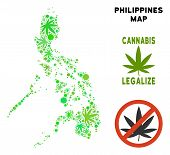 Royalty Free Cannabis Philippines Map Mosaic Of Weed Leaves. Template For Narcotic Addiction Campaig poster