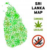 Royalty Free Cannabis Sri Lanka Island Map Mosaic Of Weed Leaves. Template For Narcotic Addiction Ca poster