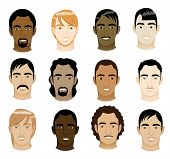 pic of cornrow  - Vector Illustration of 12 different mens faces - JPG