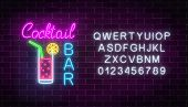 Glowing Neon Cocktails Bar Signboard With Alphabet On Dark Brick Wall Background. Luminous Advertisi poster