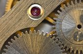 Macro. Background With Metal Cogwheels Clockwork. Conceptual Photo For Your Successful Business Desi poster