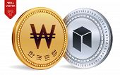 Neo. Won. 3d Isometric Physical Coins. Digital Currency. Korea Won Coin. Cryptocurrency. Golden And  poster