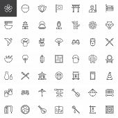 Japanese Culture Outline Icons Set. Linear Style Symbols Collection, Line Signs Pack. Vector Graphic poster
