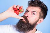 Fresh Juice Concept. Hipster Bearded Holds Strawberries Fist As Juice Bottle. Man Strict Face Enjoy  poster