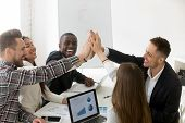 Excited Diverse Millennial Group Giving High Five Celebrating Online Business Win Or Shared Goal Ach poster