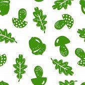 Forest Simple Sketh Drawn By Hand Pattern With Mushroom, Acorn, Oak, Oak Leaf, Leaf Seamless Pattern poster