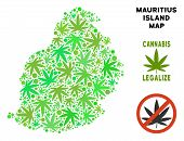 Royalty Free Cannabis Mauritius Island Map Composition Of Weed Leaves. Template For Narcotic Addicti poster
