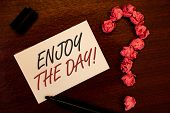 Text Sign Showing Enjoy The Day Motivational Call. Conceptual Photo Enjoyment Happy Lifestyle Relaxi poster