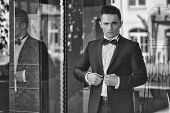 Elegant Man In A Suit. Confident Businessman. Young Man Wears Suit And Bow Tie With Confidence. poster