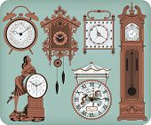 stock photo of pendulum clock  - Set of elegant antique clocks over blue background - JPG
