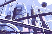 City Metropolis Of Future With Skyscrapers And Hyperloop. Vector Illustration poster