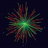 Sparkling Vibrant Vector Red Green Fireworks. 4th Of July Independence Day, New Year Holidays Backgr poster