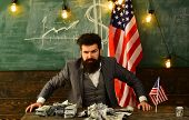 Businessman Holding Dollars Beside Flag. Us Flag, Person And Money. Our Country Our Rules. I Suggest poster