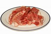 Fresh Pork Steaks In White Plate