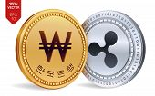 Ripple. Won. 3d Isometric Physical Coins. Digital Currency. Korea Won Coin. Cryptocurrency. Golden A poster