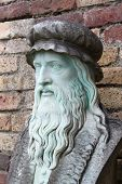 stock photo of leonardo da vinci  - A marble carving of the inventor and painter Leonardo Da Vinci - JPG