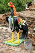 picture of roster  - Big roster guard in temple in Wat Thummikarat in Ayutthaya Thailand - JPG