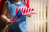 Little Boy With Usa National Flag Hand Ready For Patriotic And American National Holiday Like 4ht Of poster