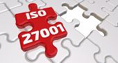 Iso 27001. The Inscription On The Missing Element Of The Puzzle. Folded White Puzzles Elements And O poster