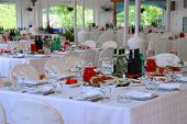 Tables At Restaurant Served For A Banquet With Tasty Meals