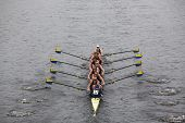 US Naval Academy races in the Head of Charles Regatta
