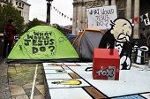 LONDON - OCTOBER 27: Since October 15, hundreds of Occupy LSX protesters have settled an encampment