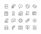 Simple Set Of Approve Related Vector Line Icons. Contains Such Icons As Inspector, Stamp, Check List poster