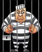 picture of cell block  - Captured danger prisoner in cartoon style for justice design - JPG