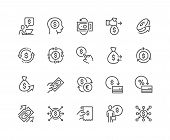 Simple Set Of Money Movement Related Vector Line Icons. Contains Such Icons As Investment, Send Mone poster