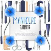Square Vector Banner Design With Realistic Manicure Equipment. Mesh Gradient Object Of Scissors, Nai poster