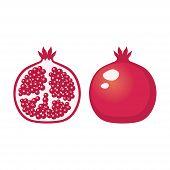 Pomegranate Icon. Sliced Pomegranate Icon Clip Art. Clipart Cartoon Half Of A Pomegranate. poster