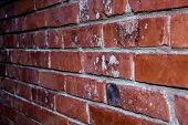 Brick Wall Of Red Color, Horizontal Of Masonry. Old Red Brick  Texture Background.empty Old Wall Tex poster