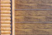 Close-up Detail Of Wall Covered With Wooden Siding. Part Of Automatic Garage Door . Car Storage Buil poster