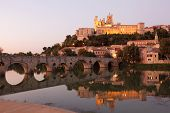 Pont Vieux At Night. Beziers France