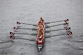 Stanford women's Eights races in the Head of Charles Regatta