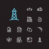 Oil Icons Set. Oil Fossil And With Oil Water Factory, Gas Plant And Engine Oil. Set Of Light For Web poster