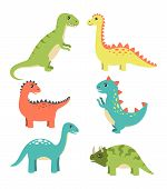 Dinosaurs Types Collection, Types Of Dinosaurs, Triceratops And Sauropods, Dinos With Spikes And Sha poster