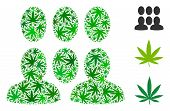 Crowd Composition Of Weed Leaves In Different Sizes And Green Tints. Vector Flat Weed Leaves Are Com poster