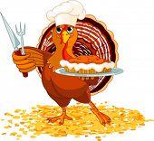 Thanksgiving turkey serving pumpkin pie