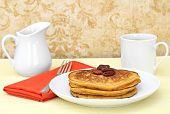 Pumpkin Pancakes, Pecans, And Coffee.