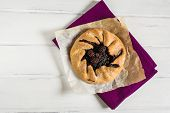 Summer Galette With Berries, Raspberry, Blueberry, Blackberry, Apple And Crusty Sugar Vegetarian Dou poster
