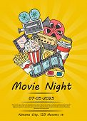 Vector Cinema Doodle Icons Poster For Movie Night Or Festival On Sunrays Bacgkround Illustration. Ti poster