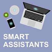 Concept Smart Assistant Flat Vector Illustration. Smart Helpers On The Desktop, Smart Column And Voi poster