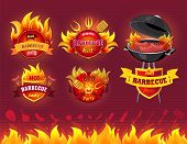 Tasty Hot Barbecue, Bbq Grill Party, Set Of Icons, Flaming Labels With Forks And Spatulas, Bbq With  poster