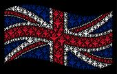 Waving Uk Official Flag On A Black Background. Vector Air Crash Icons Are United Into Mosaic Uk Flag poster