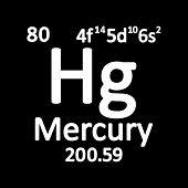 Periodic Table Element Mercury Icon On White Background. Vector Illustration. poster