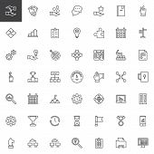 Work Productivity Outline Icons Set. Linear Style Symbols Collection, Line Signs Pack. Vector Graphi poster